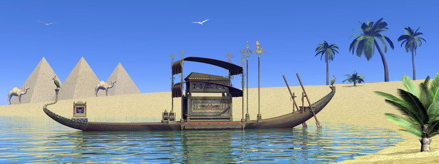 Tomb on sacred barge in Egypt - 3D render