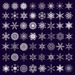 Big set of white snowflakes isolated