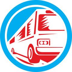 Tourist Coach Shuttle Bus Circle Retro