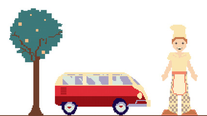 pixel art clipart with car, tree and man