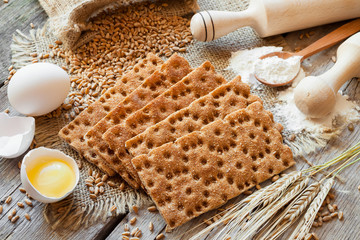 grain Crispbread, cereal crackers on table