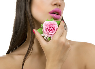 Beautiful girl with bright pink make-up and accessory close up.