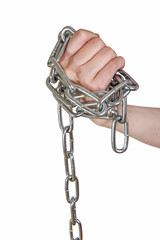female hand pulls metal chain