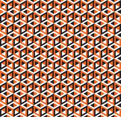 Seamless Geometric Cubes Optical Illusion Pattern