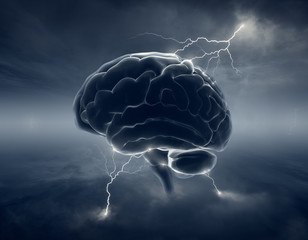 Brain in stormy clouds - conceptual brainstorm