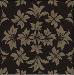 Black floral vector background