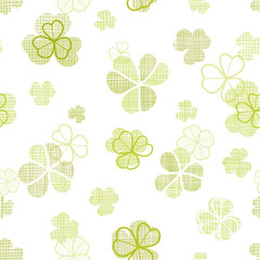 clover textile textured line art seamless pattern background