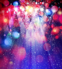 Colorful  lights and stars on bokeh background.