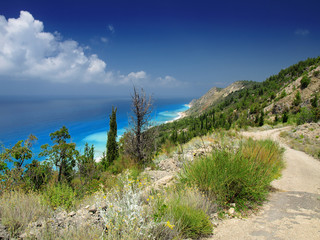 Beautiful turquoise sea and coastal hills with trees