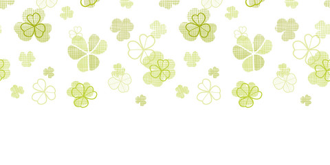 clover textile textured line art horizontal seamless pattern