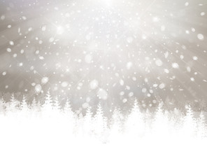 Vector winter snowfall with forest background.
