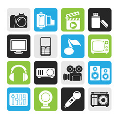 Silhouette multimedia and technology icons
