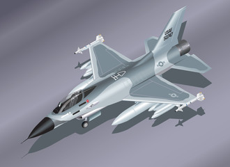 Isometric  F-16 Fighter Jet on the Ground