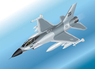 Detailed Isometric F-16 Fighter Jet Airborne