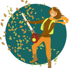 Woman with a leaf blower