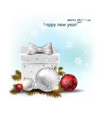 Beautiful Christmas  balls and gift on snow.  Xmas baubles. Vect