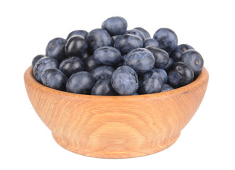 Delicious blueberries in bowl isolated on white