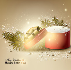 Christmas background with gift. Xmas box with bow.  Vector Illus