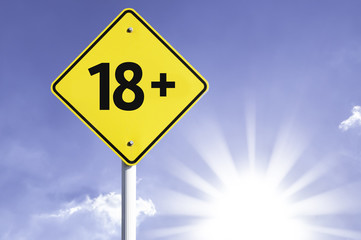 18+ road sign with sun background