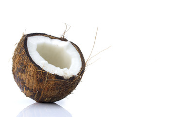 Coconut on a white
