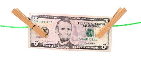 Dollar bill hanging