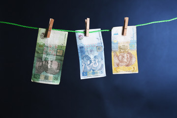 Ukrainian hryvnia bills hanging