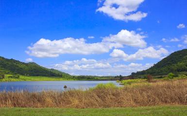 Small beautiful mountain lake and cloudy sky