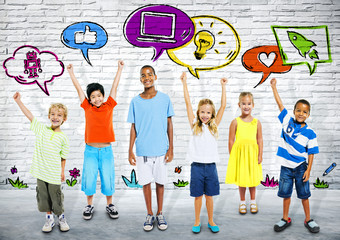 Group of Smart kids Standing in a Row with icons