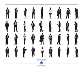 Silhouettes of Business People with Texts