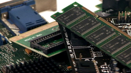 Closeup of electronic boards rotating