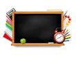 Back to school. Blackboard with school supplies. Vector.