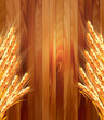 Ears of wheat on wooden background. Vector illustration