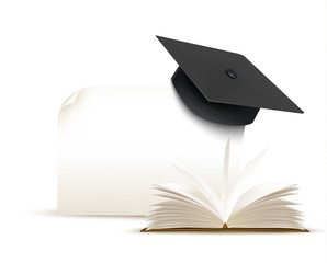Graduation cap on white background with a book. Vector.
