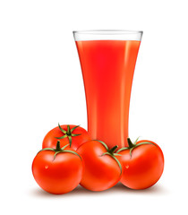 A glass of tomato juice and some ripe tomatoes. Vector.