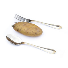 spoon and potato on white background