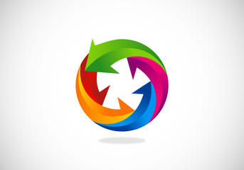 3D arrow circle color vector logo