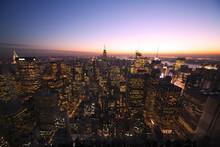 壁紙(ウォールミューラル) - [New York]ニューヨーク・トワイライトのマンハッタン全景[超広角]