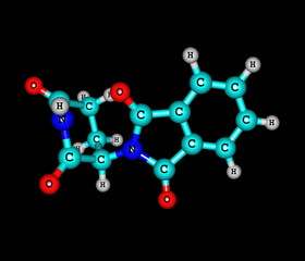 Thalidomide molecule on black