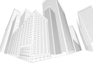 Townscape wireframe building on a white background