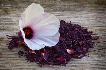 Hibiscus tea (Hibiscus sabdariffa) flower and sepals dried for i