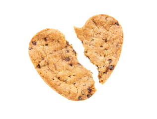 Cracked heart shaped chocolate chip cookie isolated