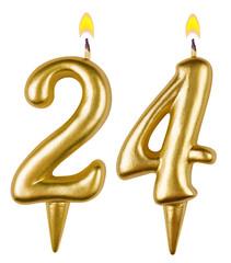 Birthday candles number twenty four isolated on white background