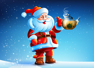 Santa Claus offers drink tea.