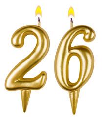 Birthday candles number twenty six isolated on white background