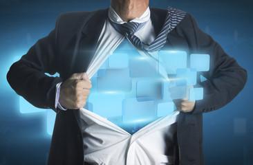Businessman showing a superhero suit underneath modern interface