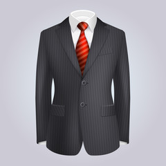 Male Clothing Dark Striped Suit with Red Tie.