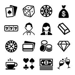 Gambling and Casino Icons Set.