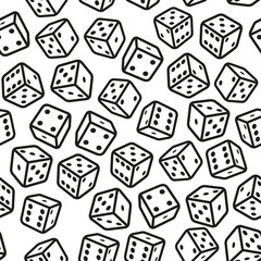Gambling Dices Seamless Pattern on White Background.