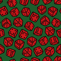 Red Gambling Dices Seamless Pattern on Green Background.
