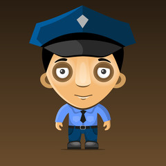 Cartoon Police Officer on Dark Background.